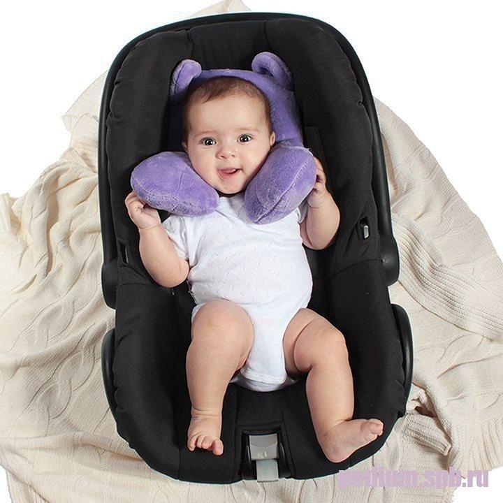 114115 Подушка детская подголовник в автокресло Bebe Liron Мишка сиреневый - фото 1