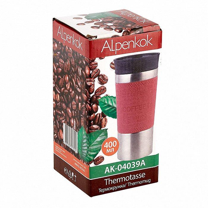 Термокружка вакуумная 400 мл Alpenkok AK-04039A розовая - фото 1