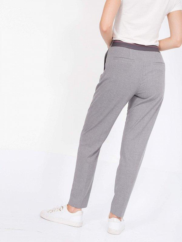 Текстильные брюки в полоску - фото 1