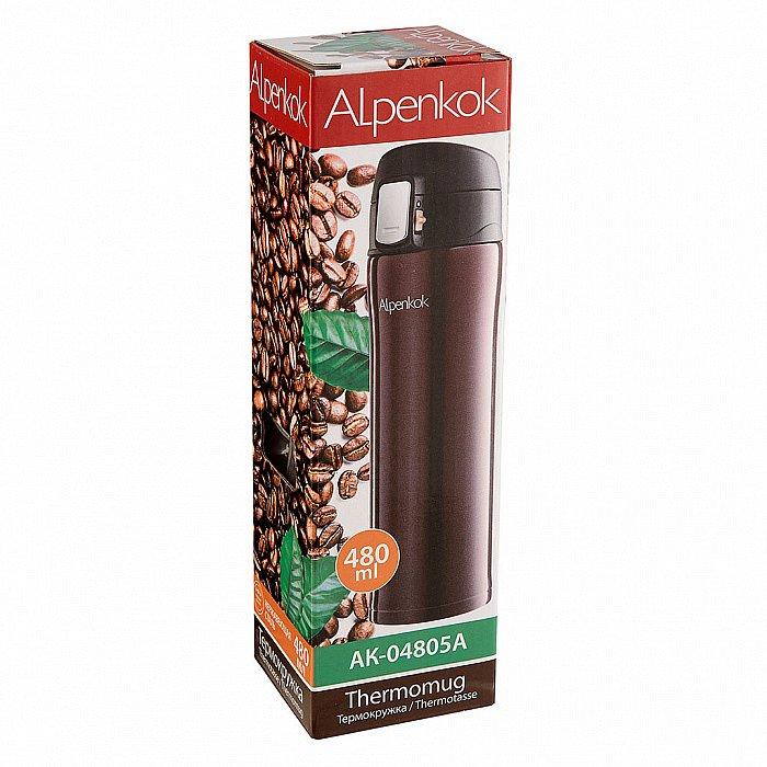 Термокружка вакуумная 480 мл Alpenkok AK-04805A коричневая + ПОДАРОК - фото 1