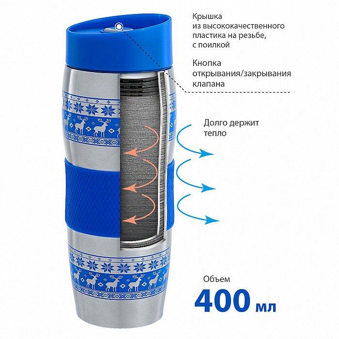 "Термокружка вакуумная 400 мл Alpenkok AK-04023A ""Олени синие"" - фото 1"