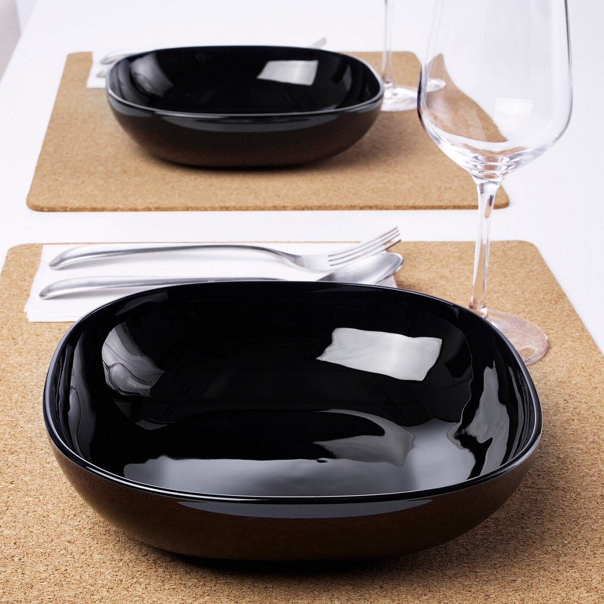 БАККИГ, Тарелка глубокая, черный, 20x20 см - фото 1
