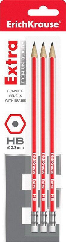Карандаш чернографитный шестигранный с ластиком ErichKrause Extra HB (в блистере по 3шт.) - фото 1