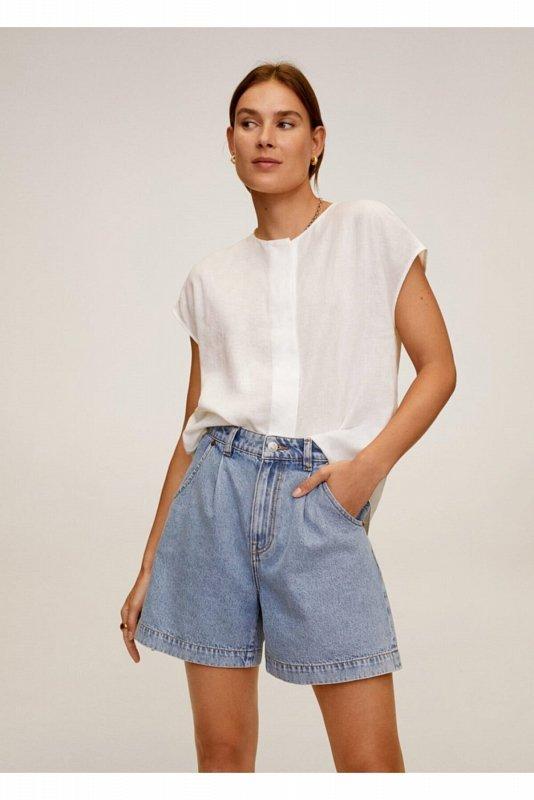 Женская блузка с рукавами-накидкой цвета экрю 67037651 - фото 1