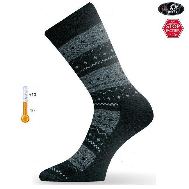 Носки Lasting TWP 686, wool+polypropylene, черный с серым рисунком - фото 1