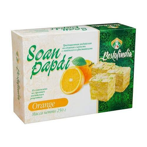 Сладость Соан Папди с апельсином Soan Papdi Orange Bestofindia 250 гр. - фото 1
