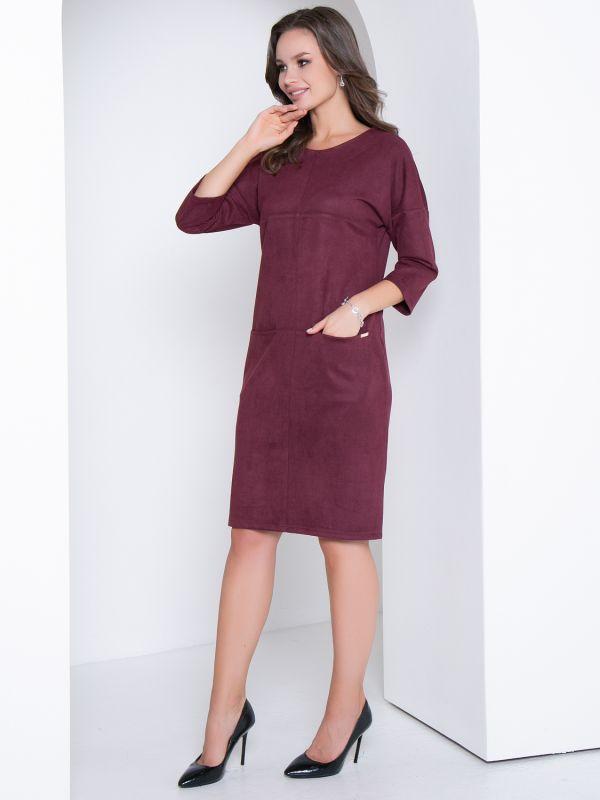 Платье Модный вельвет(марсала) - фото 1