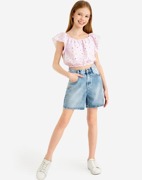 GSH007188 Джинсовые шорты Bermudas с высокой талией для девочки - фото 1
