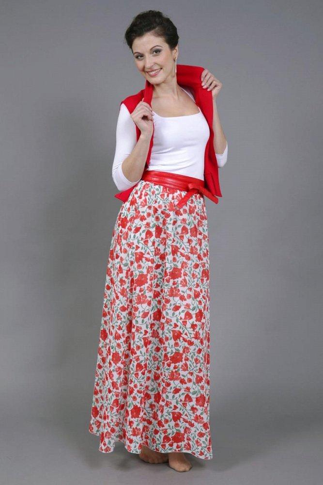 модель юбка длинная; шифон - фото 1