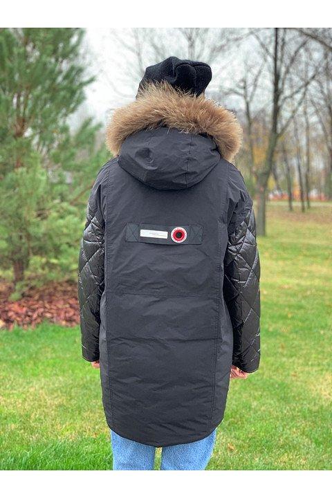 Женская зимняя куртка С16 черная - фото 1