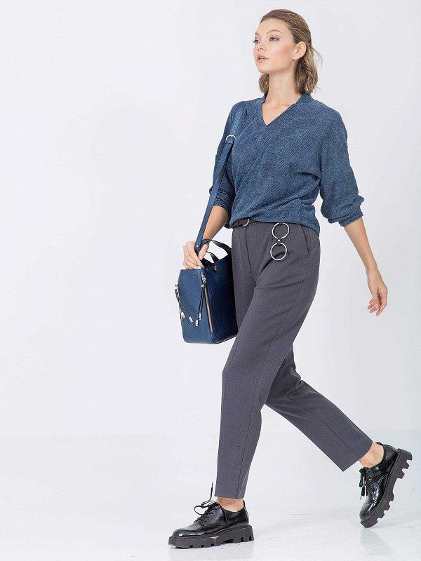 Текстильные брюки прямого силуэта - фото 1