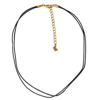 Шнурок (текстиль черный; покрытие: золото) - фото 1