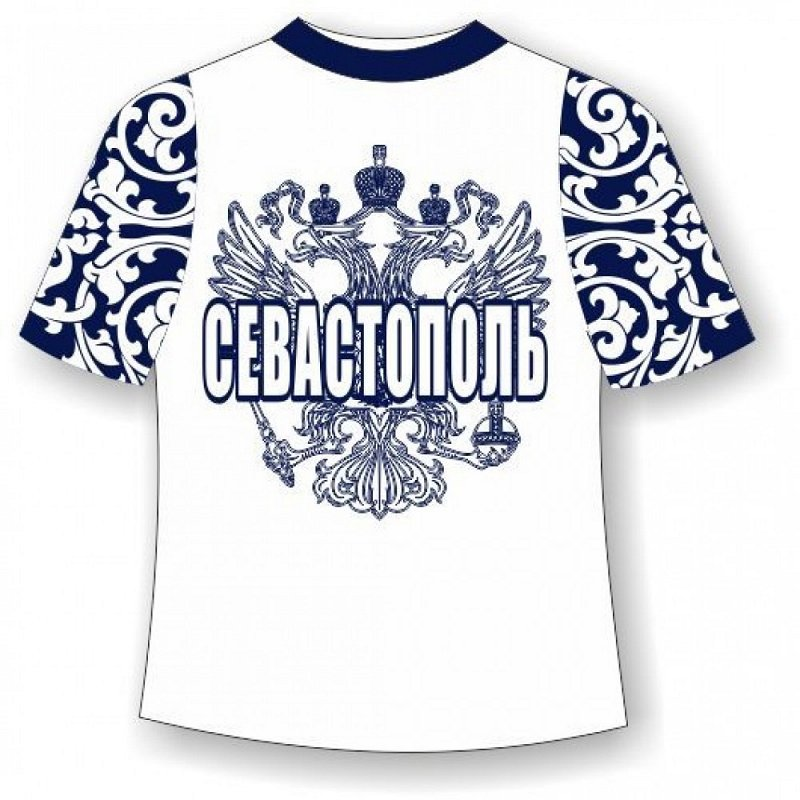 Детская футболка Севастополь хохлома синяя - фото 1