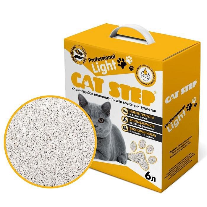 Наполнитель минеральный комкующийся CAT STEP Professional Light, 6л - фото 1