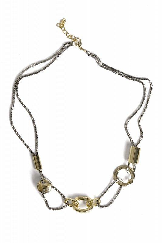 Женское золотисто-серебряное кольцо и трубка Детальный дизайн Ожерелье золото MRJ110011091 - фото 1