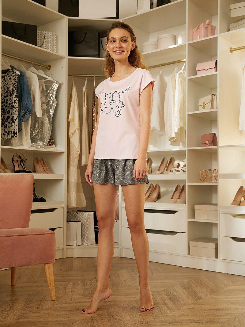 Комплектфуфайка(футболка),шортыженMiaCaraAW20WJ354PinkPuffрозовый/серый/рисунок - фото 1