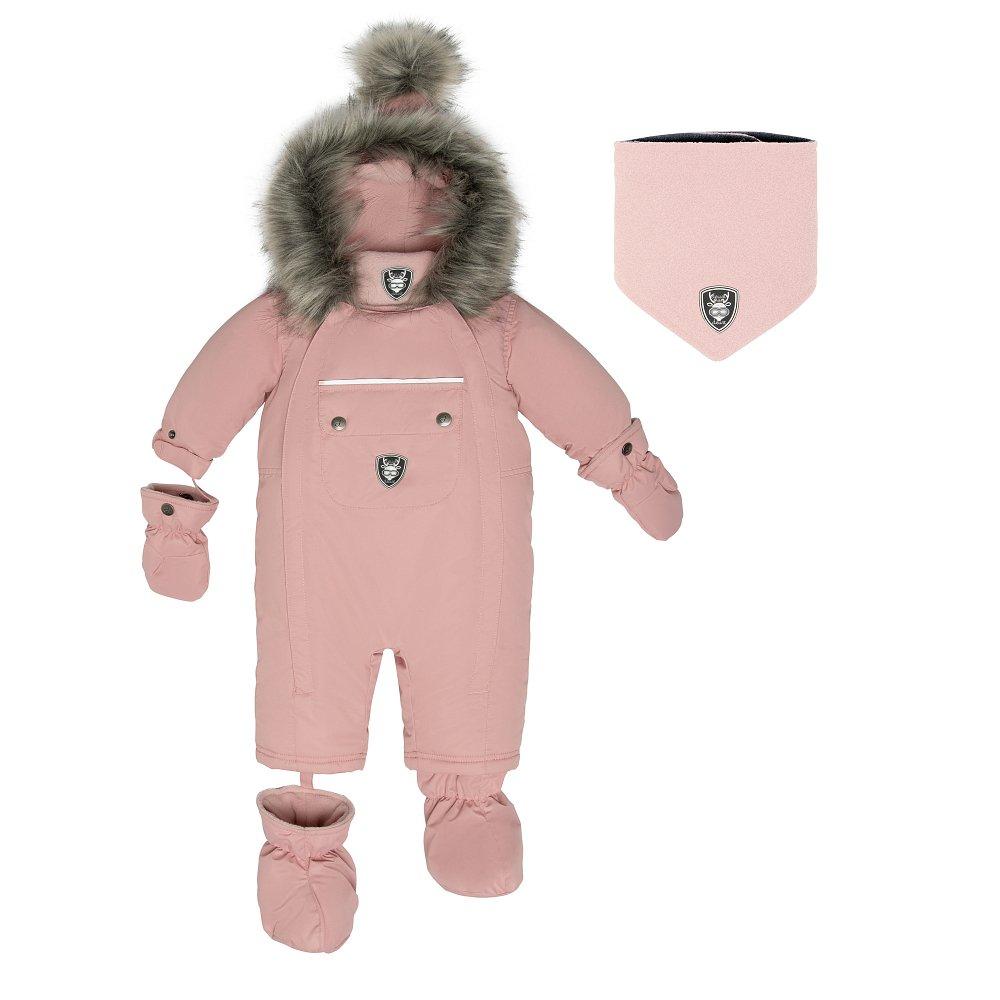 Комбинезон детский слитный в комплекте манишка + варежки + пинетки D 10 H702 622 - фото 1