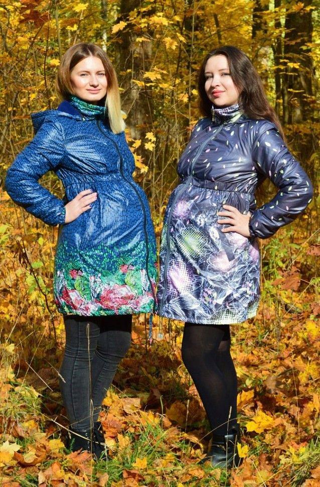 Плащ для беременных на флисе Д-18 СК синий / принт - фото 1
