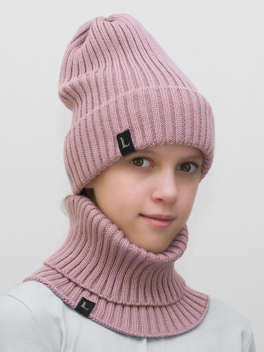 Комплект для девочки шапка+снуд Ники (Цвет темно-пудровый) - фото 1