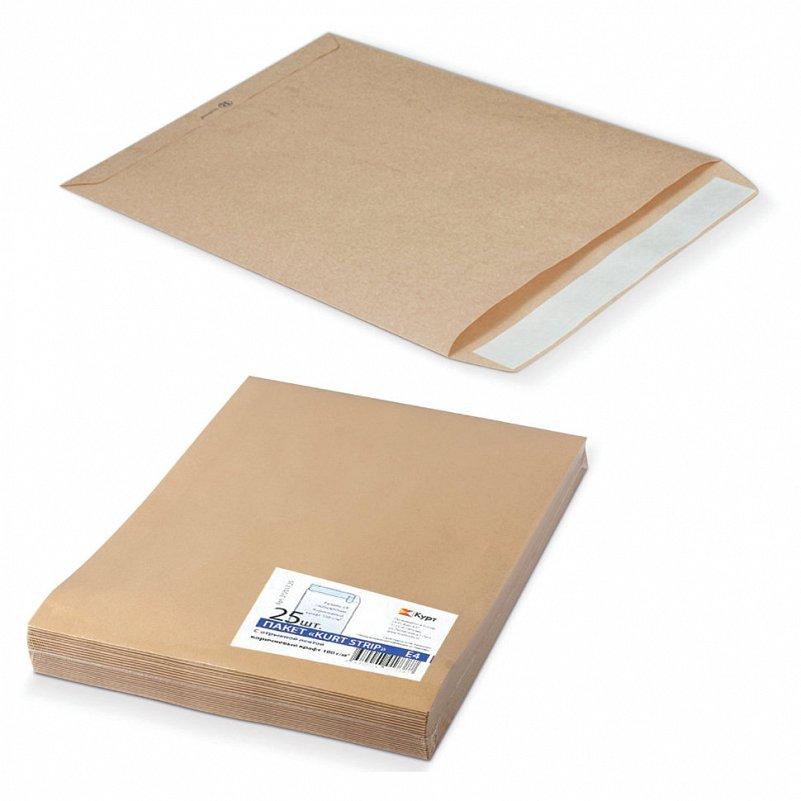 Пакеты почтовые Е4+ плоские, крафт, отрывная полоса, 25 шт - фото 1