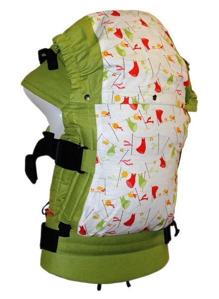 Регулируемый рюкзак без кармана Сарафанчики зеленые ( с подголовником) - фото 1