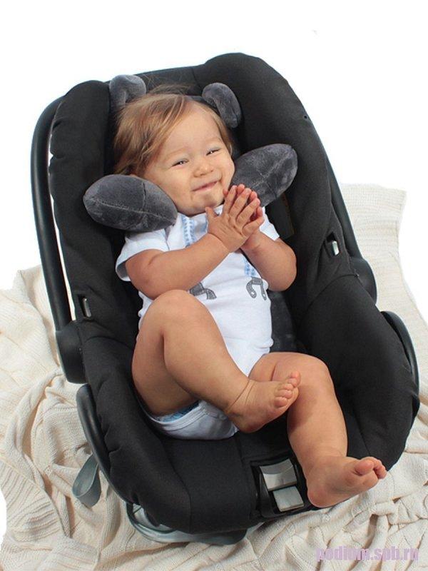 114116 Подушка детская подголовник в автокресло Bebe Liron Мишка серый - фото 1