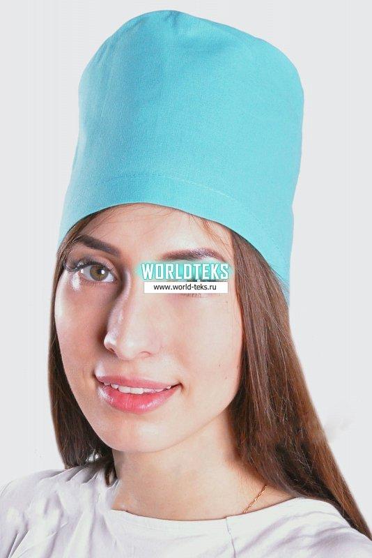 Колпак медицинский прямой цветной Бязь ГОСТ (зелёный) №УФР-МЕД-842-1 - фото 1